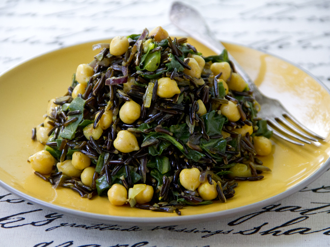 Wild Rice with Chickpeas and Swiss Chard