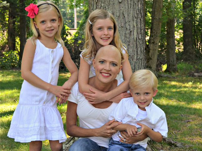 cancer survivor with her three children