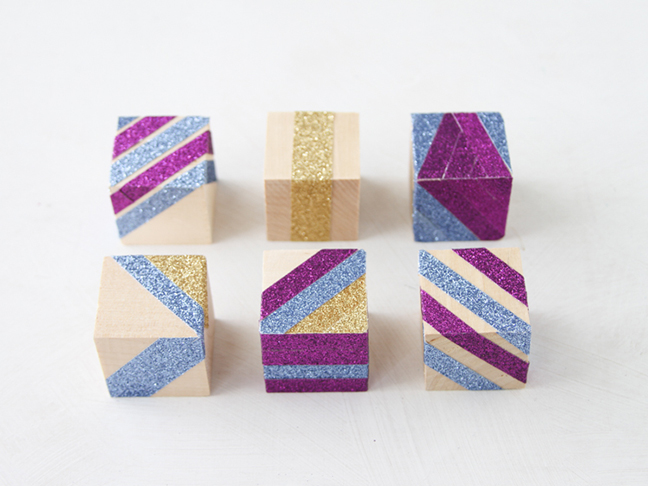 Finished Glitter Blocks DIY