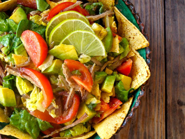 Pulled Pork Taco Salad Recipe with Lime Vinaigrette - Momtastic