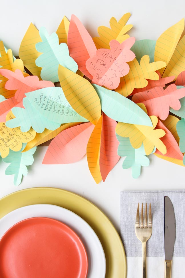 DIY Paper Leaf Table Runner for Thanksgiving