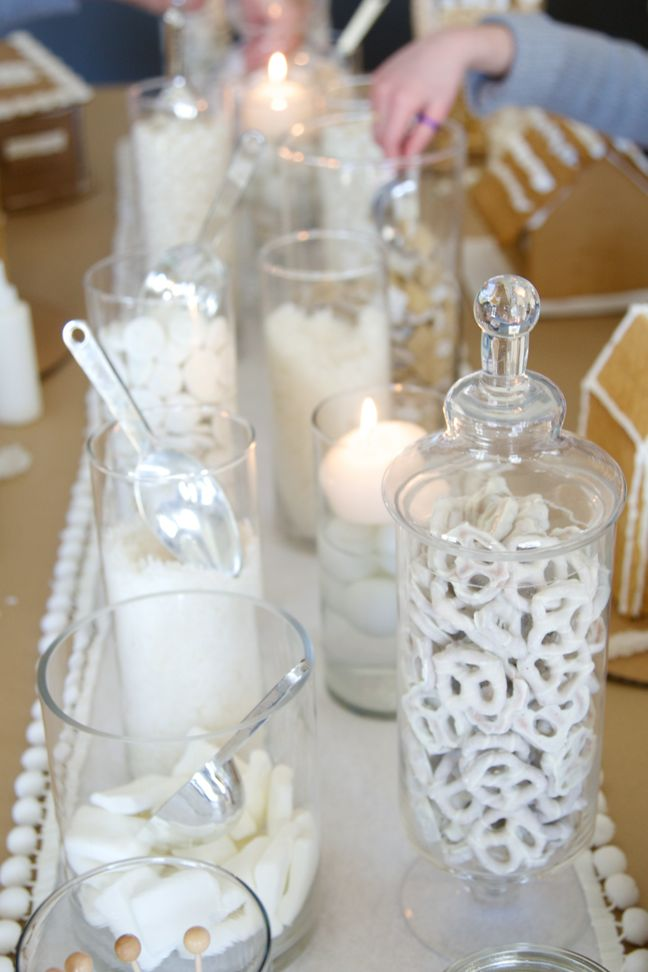 How to throw a winter white gingerbread decorating party for All white party decoration