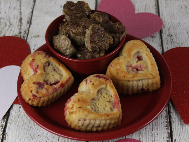 Family friendly Valentine's Day strawberry muffins and mini meatloafs