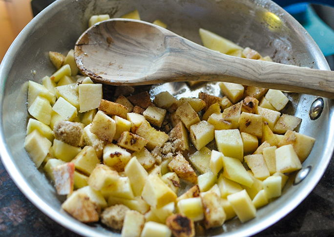 mixing the pie filling