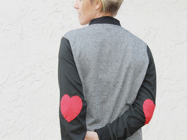 woman wearing DIY heart elbow jacket
