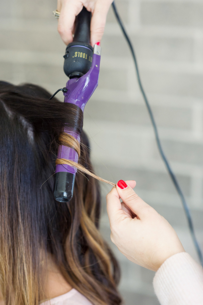 curling iron ombre hair