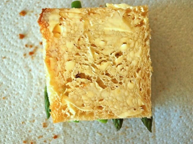 bread-mustard-asparagus-white-paper towel-butter-bread