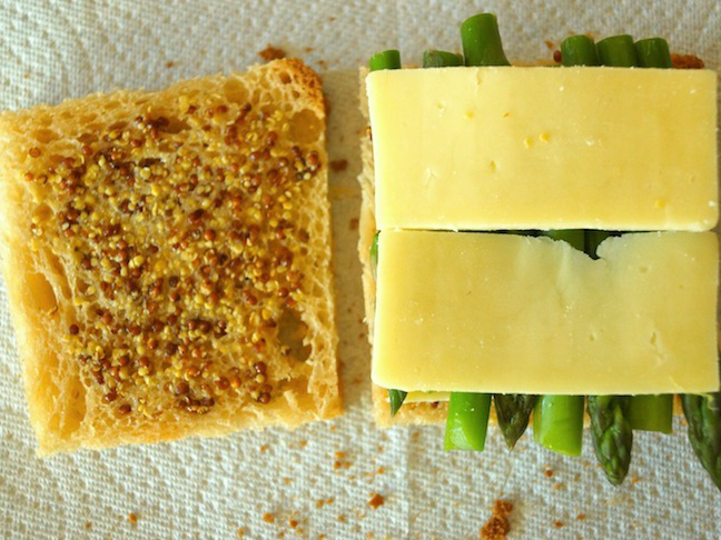 bread-mustard-asparagus-white-paper towel-green-cheese