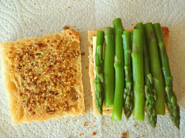 bread-mustard-asparagus-white-paper towel-green