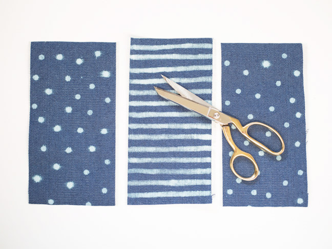 denim-polka-dot-stripe-fabric-gold-scissors