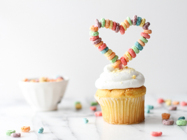 finished DIY cupcake topper for Valentine's Day