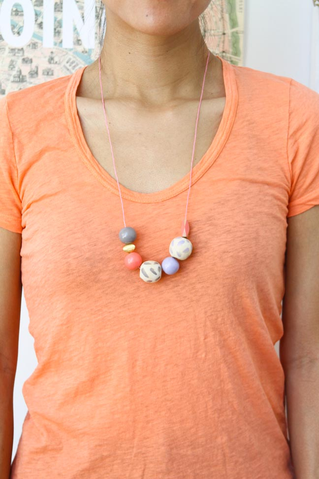 DIY // Long Painted Necklace with Wood Beads