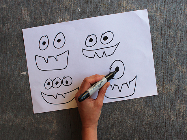 sharpie monster faces