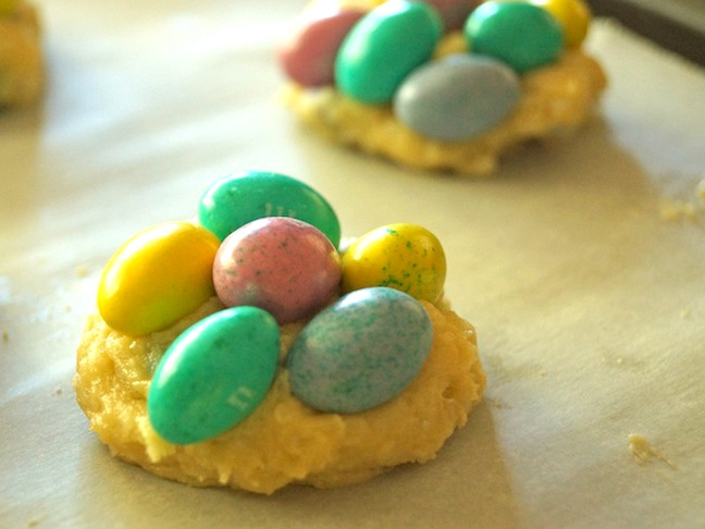 cookie batter-Easter-candy-baking sheet-parchment paper