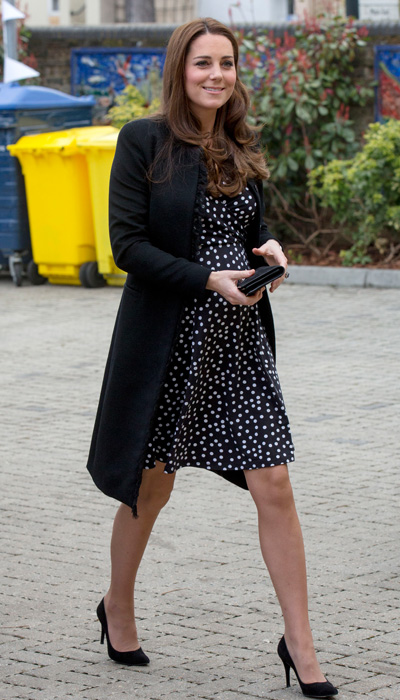 E! reports that Middleton's black-and-white maternity dress was by ASOS -- and it cost a budget-friendly $63!