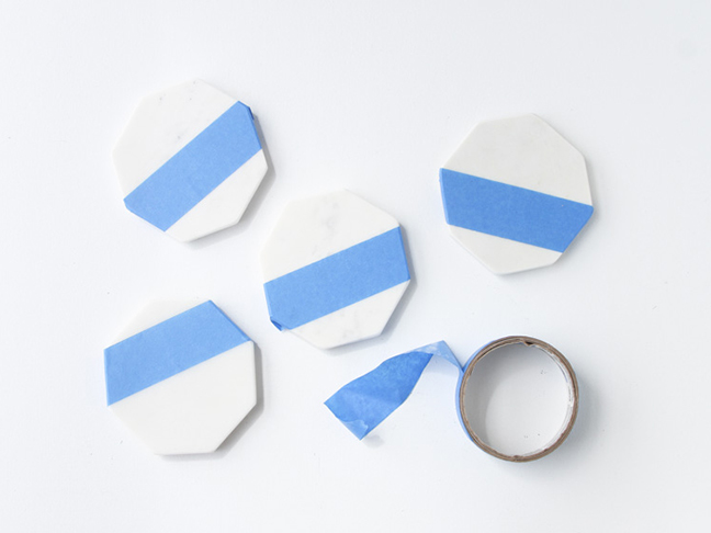 Tape coasters with painter's tape.