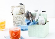 DIY Condiment Caddy Made From a Recycled 6-Pack Bottle Carrier