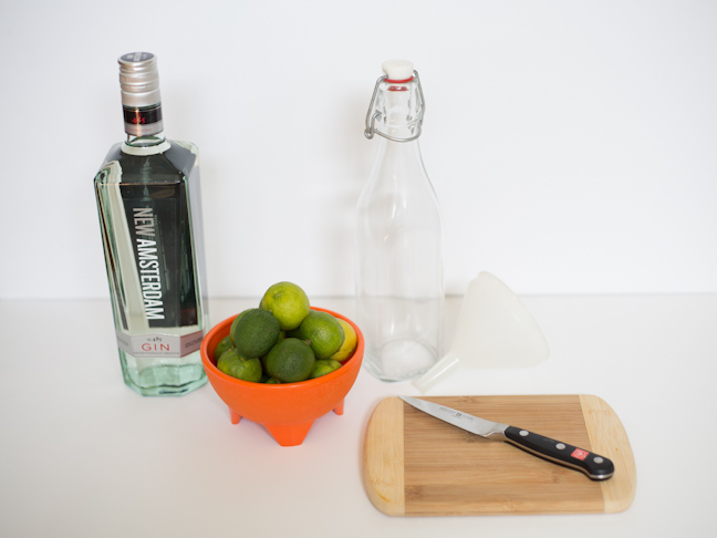 gin-bottle-limes-cutting-board-knife