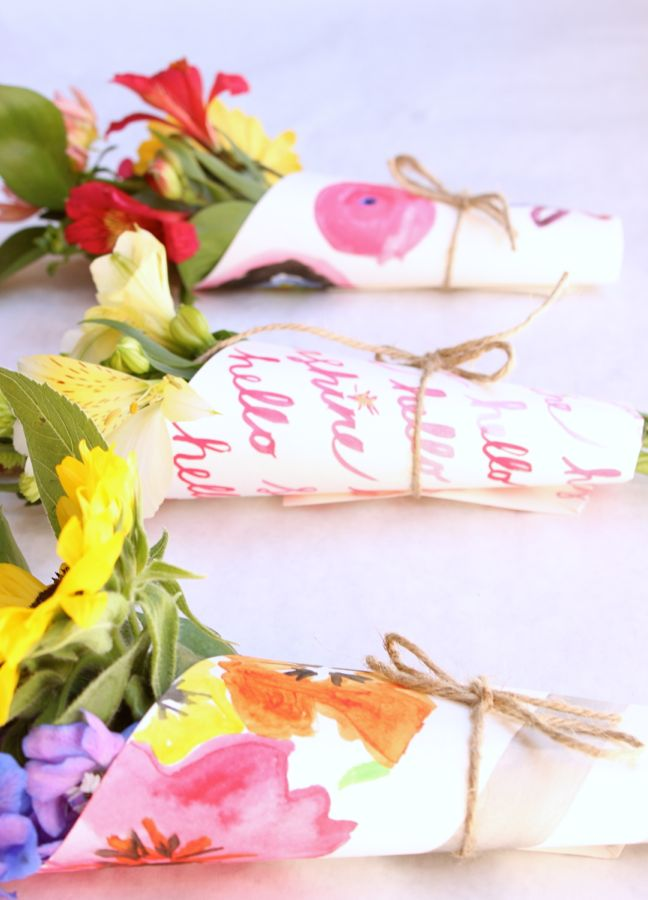 watercolor-diy-flower-wrap-hostess-gift-pink-paper-paper-kids-art-twine