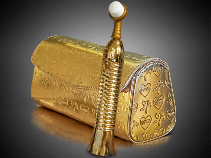 A Eroscillator Gold Sex Toy, pictured with discreet carrying case