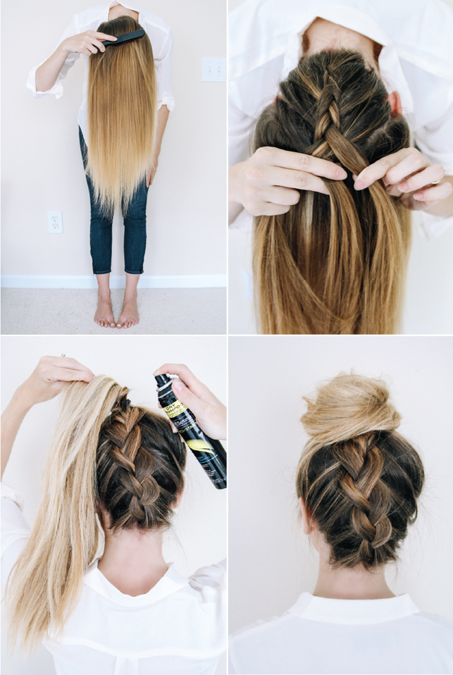 upside down braid steps