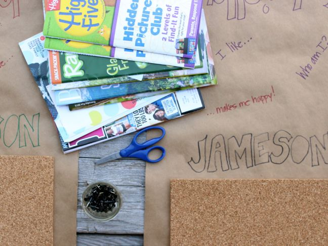 who-am-i-vision-board-magazines-scissors-corkboard-kraft-paper-kid-friendly-activity