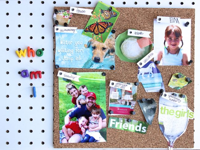 who-am-i-vision-board-family-photos-butterfly-magazine-corkboard-kid-friendly-activity