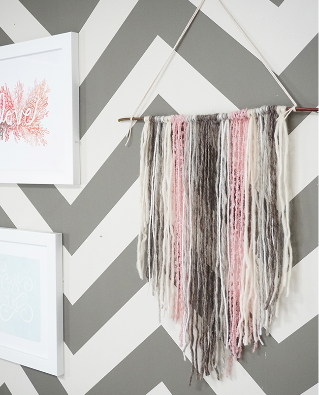 grey, pink, white yarn tapestry