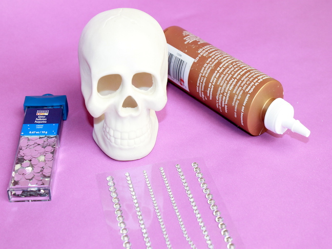 Skull Supplies with rhinestones, glue and sparkles