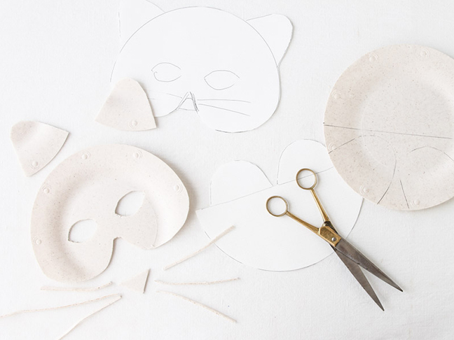 Cutting masks out of paper plates