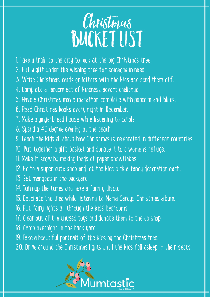 Christmas bucket list - Mumtastic