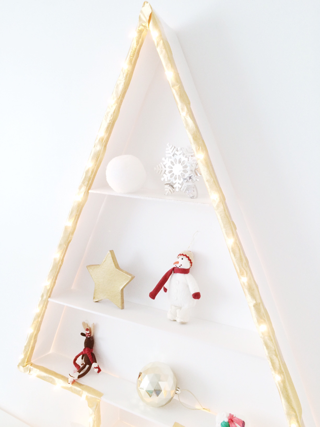 diy lit christmas tree wall shelf shauna younge for momtastic