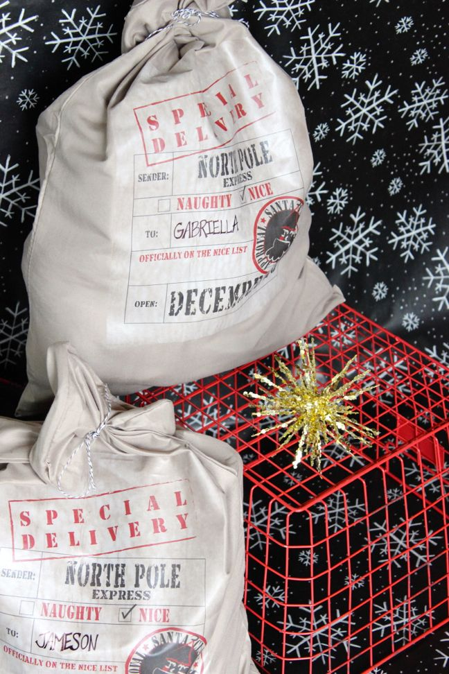 santa-bag-christmas-diy-wrapping-red-basket-special-delivery-pottery-barn-hack