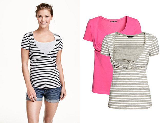 pink and black and white striped nursing tees
