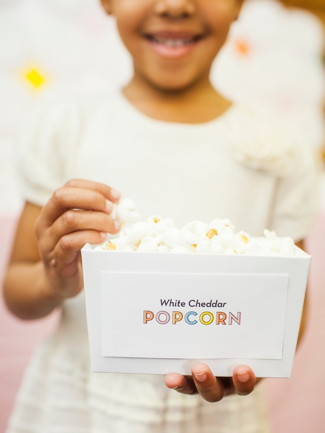 custom popcorn boxes kids birthday party | Shauna Younge (image: Sydnee Bickett)