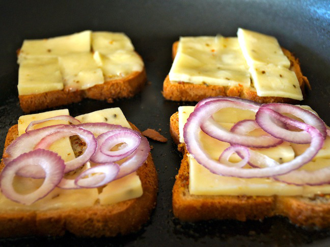 purple, red onion, bread, cheese, toast