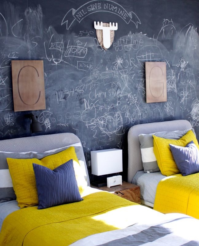 chalk-chalkboard-wall-room-kids-yellow-bedding-initials-wood-room-