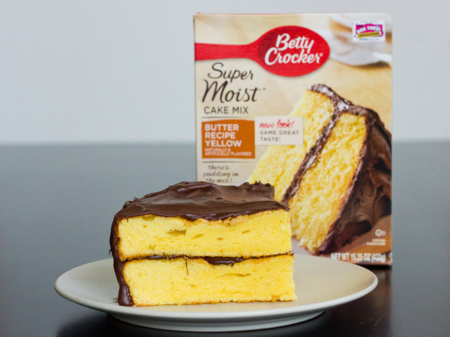 chic_yellow_box_cake_with_chocolate_frosting