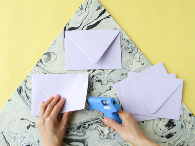 Glue envelopes to triangle base.