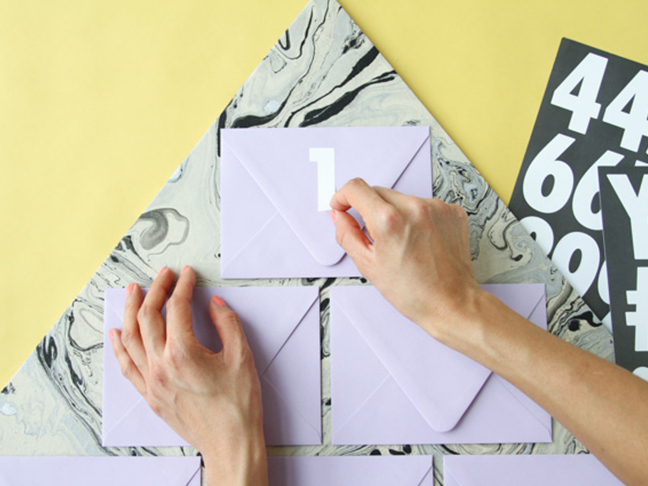 Add numbers to envelopes.