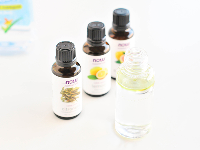 Recipe for DIY bug spray including essential oils