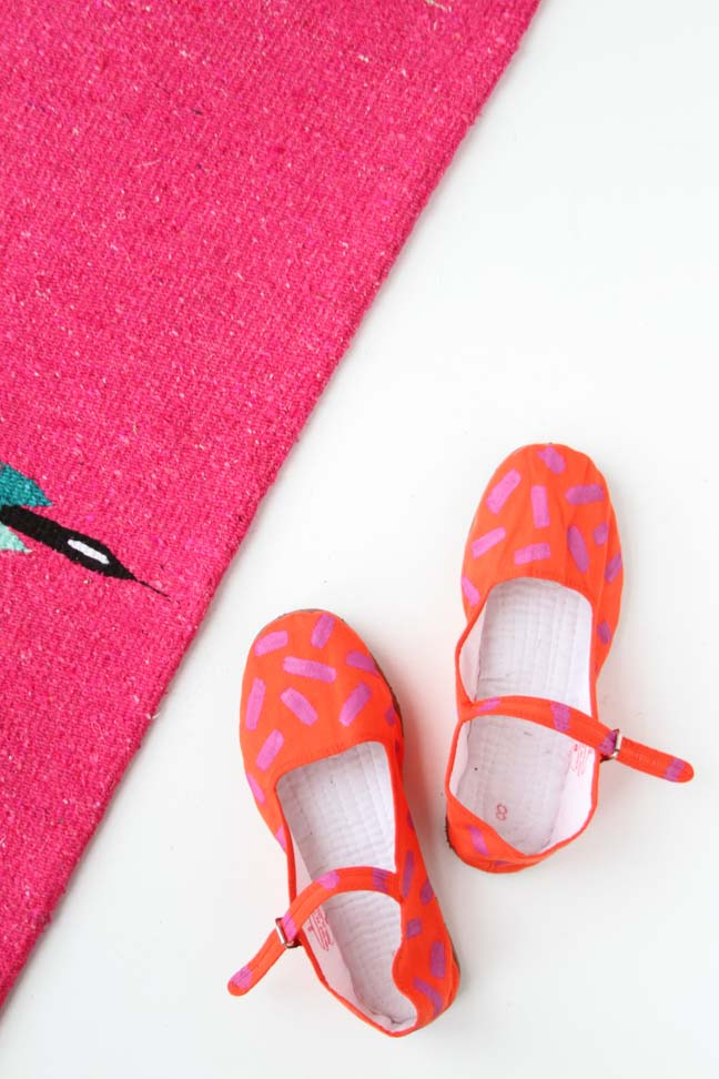 Neon Orange and Pink Mary Jane Shoes DIY