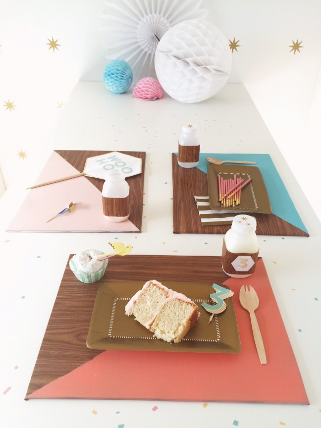 DIY Faux Bois Color Block Placemats | Shauna Younge