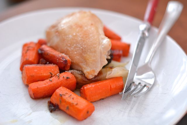 Roasted Chicken with Carrots & Shallots