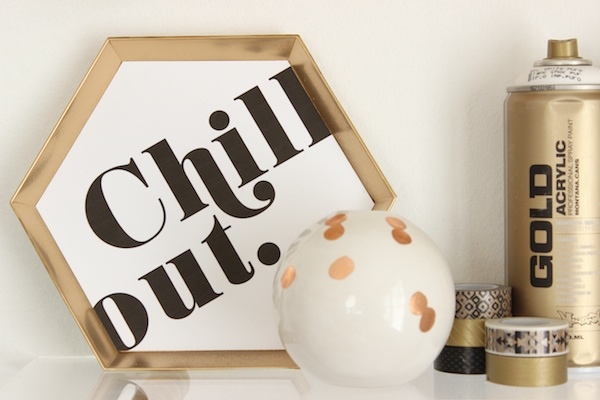 chill-out-gold-art-hexagon-plaque