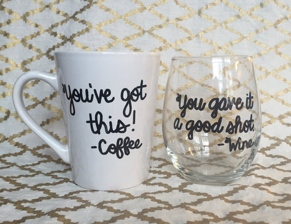 funny coffee mug and wine glass