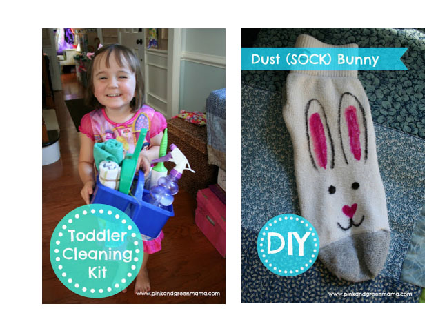 toddler cleaning kit dust bunny sock