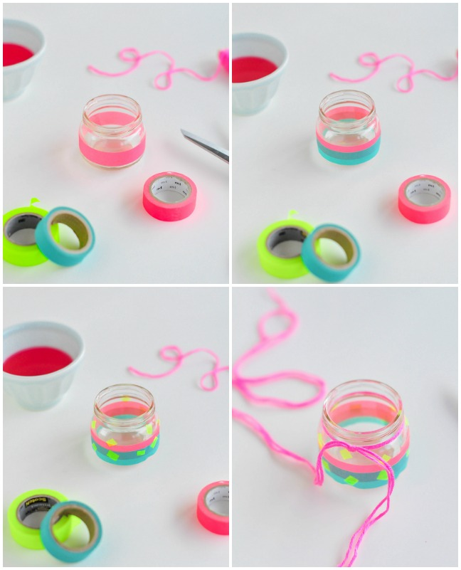 adding wash tape to jar
