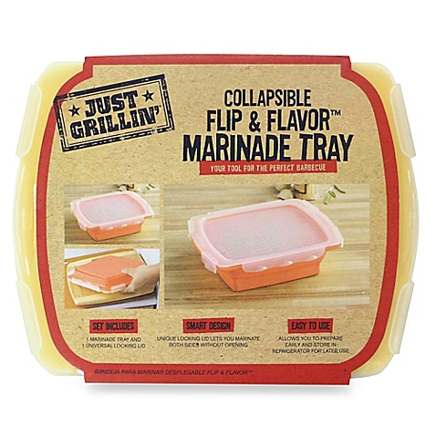 Marinade your meats and vegetables easily with this collapsible marinade tray!