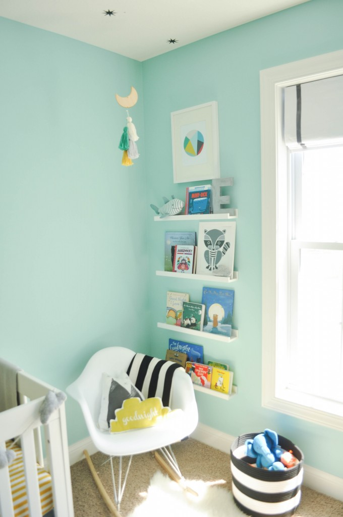 pale blue walls kids floating bookshelves